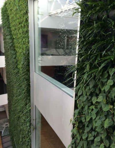 Die grüne Wand als Klimaverbesserung und optisches Highlight im Eingangsbereich einer Verwaltung