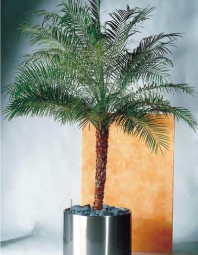 Rundes Pflanzengefäß aus Edelstahl mit Rollen